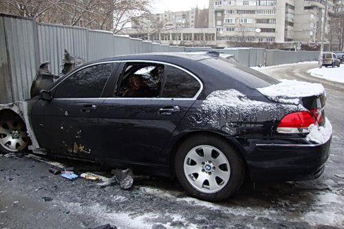 В центре Днепропетровска сгорела BMW 740