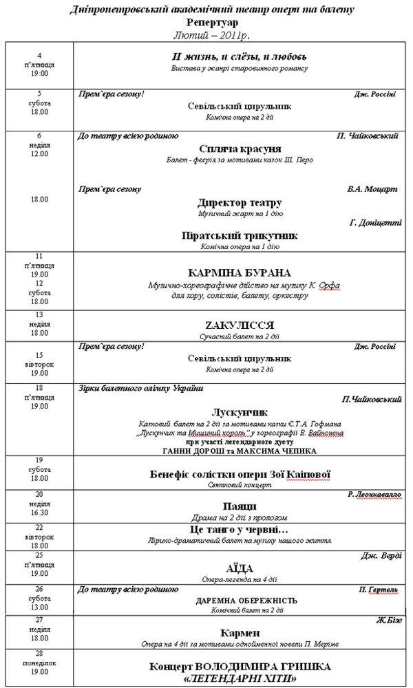 Репертуар Театра Оперы и Балета на февраль