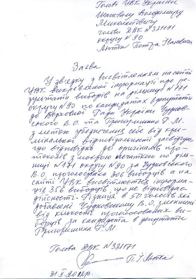Фальсификации на выборах в Раду 2012. Сканы документов