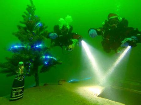 Днепропетровские дайверы установили ёлку на глубине 30 метров